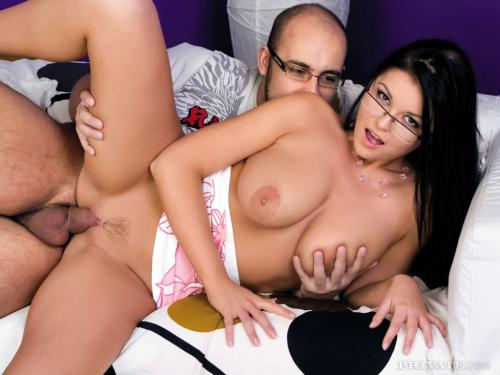 Christina Jolie sexy girl with glasses girl gives monkey blowjob